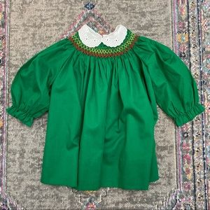 Polly Flinders Green Hand Smocked Dress Vintage